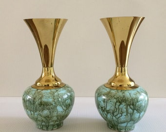 Pair of Vintage Delft Brass and Porcelein Hand painted Vase, Holland