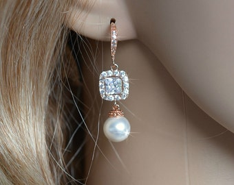 Handmade Cubic Zirconia CZ & Pearl Dangle Bridal Earrings, Bridal, Wedding (Pearl-728)