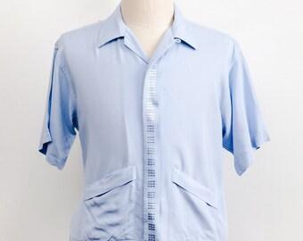 Vintage 1950s Rockabilly Shirt Jac Loop Collar Shirt VLV Medium