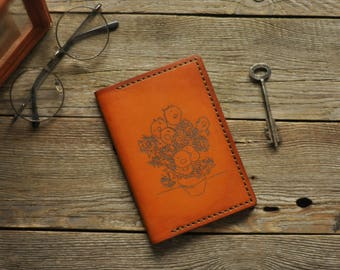 Leather Passport Cover in the style of Bohemian - The Sunflowers Of van Gogh - Real Leather, hand stitch, with holder for two cards