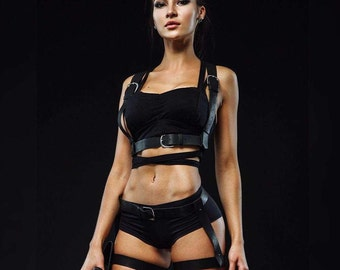 "Leather harness and garters ""Lara Croft"""