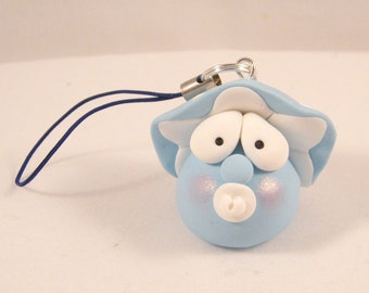 Baby Blue puffball with pacifier in fimo-light blue polymer clay baby mushroom with pacifier