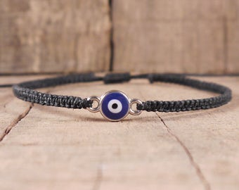 Evil Eye Bracelet, evil eye jewelry, indie grunge clothing, mens, surfer, hippie, boho, macrame, braided, spiritual, surf