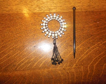 Beautiful, Round,Shawl Pin, Surrounded by Faux Gems, Tassels, comes with Wooden Pick