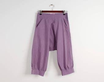 Summer Shorts Lilac Harem Pants Harem Pants Linen Cotton Casual Pants Drop Crotch Pants Hip Hop Pants Womens Harem Pants Size Small