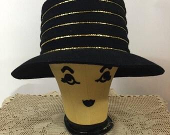 Vintage Frank Clive Black Felt Hat Easter Church Hat
