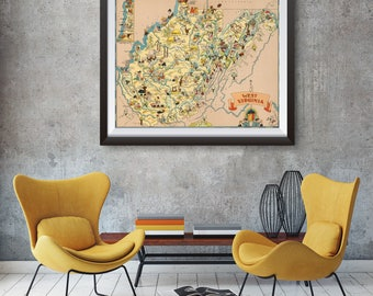 Vintage West Virginia Map from 1935, old West Virginia map Print, old USA map Print Art Poster,Office Decor, Home Decor Print
