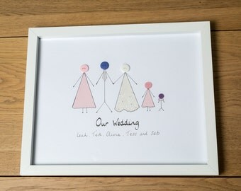 Personalised Wedding Gift Picture - Bride, Bridesmaid or Hen Party