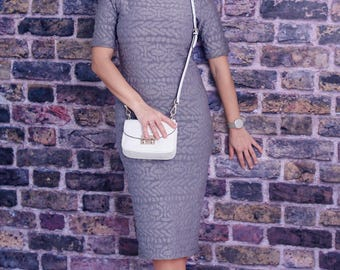 Gray Dress, Pencil Dress, Turtleneck Dress, Summer Dress, Elegant Dress, Short Sleeved Dress, Midi Dress, Formal Dress, Trendy Dress
