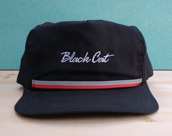 Vintage 80's/90's Black Cat Made in USA black red grey snapback hat