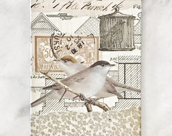 Original Miniature Analogue Collage ACEO Bird Theme from Vintage and Antique Papers
