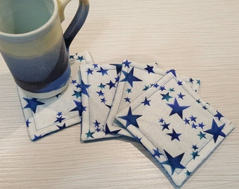Fabric Coasters - Reversible - Blue and Silver Stars