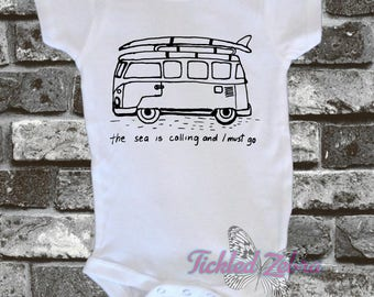 The Sea Is Calling And I Must Go VW Van Surfboard - Summer - Surf - Beach - Bus - Fun - Swim Bodysuit Girls/Boys ..... White/Gray/Pink/Black