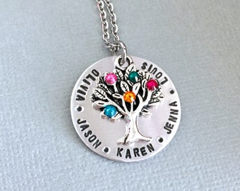 Mother or Grandma Birthstone Necklace, Family Tree Charm, Granny Necklace, Gift To Mom, Name Necklace, Nana Necklace, Christmas Gift