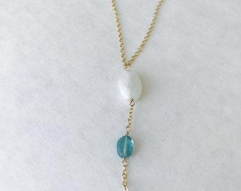Moonstone Necklace, Gemstone Necklace, Healing Necklace , Peridot Necklace, Layering Necklace, Boho Necklace, Apatite Necklace, Y Necklace