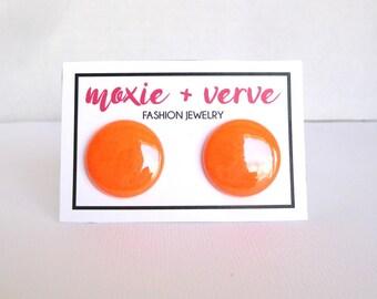 Neon Earrings, Neon Orange Stud Earrings, Button Earrings, SBright Colors, Fluorescent Orange, Day Glow Orange, Neon Jewelry