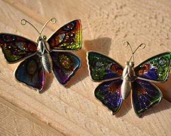 Vintage Metal Butterfly Pins, MultiColored Buttefly Wings Brooch, Set Of 2 Scatter Pins
