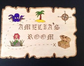 Personalised Amelia's Room Wooden Mermaid Pirate Map Kids Door Plaque, Bedroom sign.