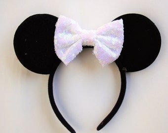 Minnie Mouse Ears- WHITE sequin bow ears, WHITE sequin bow