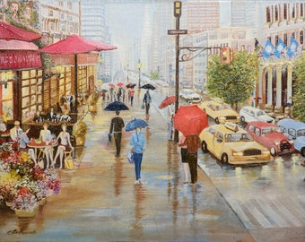 """Oil painting - New York canvas painting. 17.7""""x11.8"""" (45cm x 30cm) painting art original, wall art canvas, oil painting CITYSCAPE"""