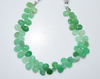 "1 Strand Shaded Chrysoprase Pear Shape Briolette - Chrysoprase Faceted Beads , Chrysoprase Briolette , 10x8 - 13x8 mm , 9"" - BL2869"