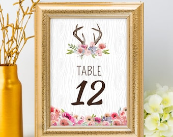 Printable Rustic Watercolor Wildflowers and Antlers Faux Bois Wood Pattern Boho Table Number Name Card Signs, Editable PDF, Instant Download