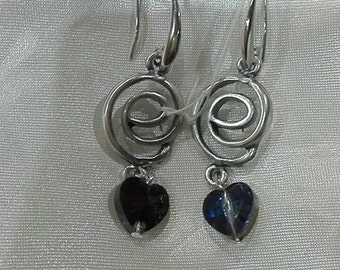 earrings with swarovski heart handmade, made in italy