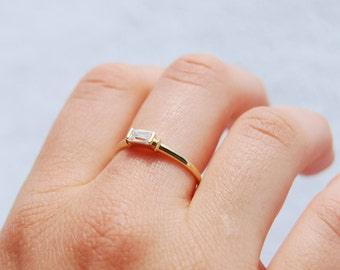 9ct Gold - cz baguette - skinny ring - gold cz ring - stacking ring - bezel ring - promise ring - cubic zirconia ring - gold ring -I31110