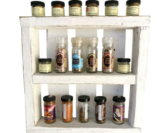 Shabby Chic Spice Rack - wall spice rack wooden spice rack pallet wood wooden crate kitchen decor wall decor white spice rack farmhouse