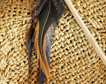 Wooden feather stitch leather natural brown black copper