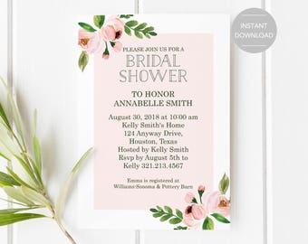 Bridal Shower Invitation, Printable Bridal Shower Invitation, Floral Bridal Shower Invitation, Bridal Shower Invitation Template