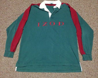 Vintage IZOD Spell Out Color Block Long Sleeve Rugby size Large