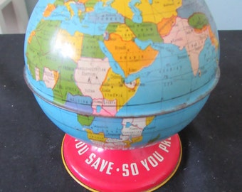 "Vintage 'The Ohio Art Co.' - 4.75"" Tin Litho Globe Bank - ""As You Save - So You Prosper - World Bank"" - Brightly Colored - Pre-1958"