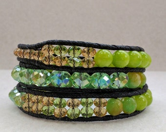 Apple green/Gold Beaded Wrap Bracelet
