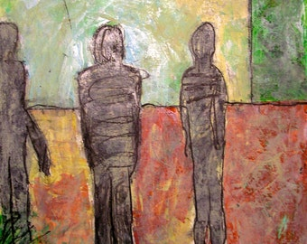 """Waiting at the Bus Stop: 3 Human Figures Surrealism Iridescent green red gray Impressionism Futuristic Space Age 18x24"""" Unframed on paper"""
