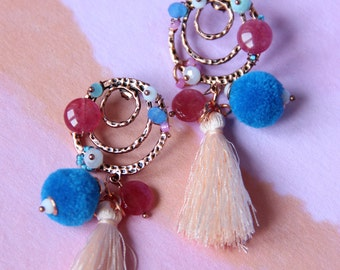 BOHO earrings blue, pink, white and bronze