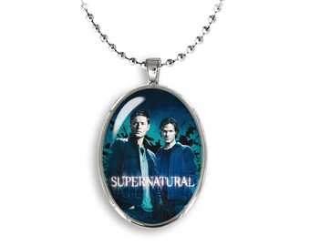 Supernatural Oval Pendant Necklace Dean Sam Winchester Fandom Jewelry Cosplay Fangirl Fanboy