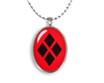 Harley Quinn Oval Pendant Harley Quinn diamond Necklace Geeky Jewelry Cosplay Fangirl Fanboy