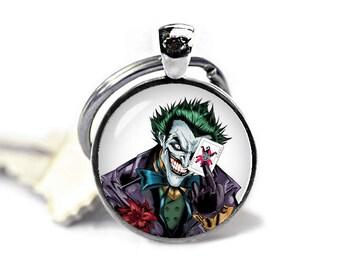 Joker Key Ring Keyfob Joker Keychain Fandom Jewelry Cosplay Fangirl Fanboy Novelty Keychain