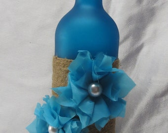 Decorative Wine Bottle-Twine and flowers