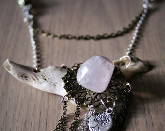 "Jawbone and rose Quartz ""Kjálka"" necklace"