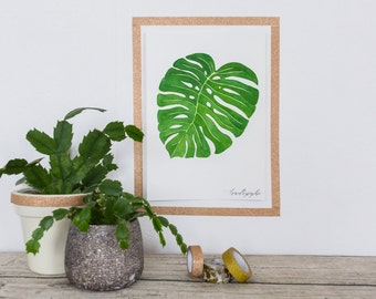 monstera deliciosa 2 sheet watercolor original poster