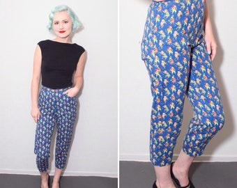 1960's Monkey Musician Novelty Print High Waisted Capris | Size XS