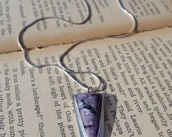 Charoite Pendant, sterling silver, bezel