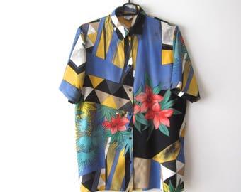 Vintage Women's Blouse Short Sleeve Shirt Flowers Print Shirt Medium Size Comfortable Blouse Viscose Summer Shirt Festival Blouse