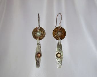 Item 4200-23 Handcrafted Sterling and Copper Textured Lightweight Dangle Earrings
