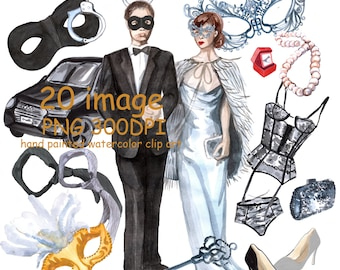 Wotercolor clipart Fifty shades of gray