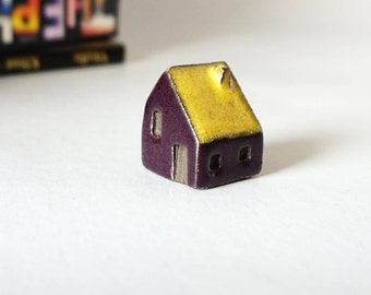 Miniature Handmade Purple and Yellow Ceramic House