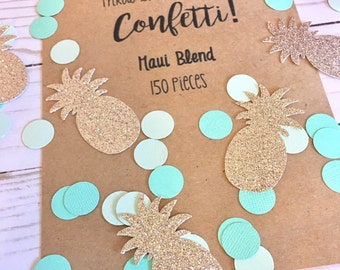 Hawaiian Confetti | Tropical Confetti | Tropical Party Confetti | Luau Party Confetti | Gold Pineapple Confetti | Tropical Decorations