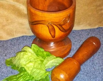 Vintage Mortar & Pestle/ Carved Wood Mortar and Pestle/ Vintage Herb Grinder